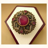 Stunning Sterling Vermeil, Ruby and Gemstone Huge Princess Ring, Size 8-1/4