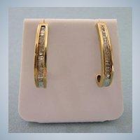14K Gold .25 TCW Diamond J Hook Pierced Earrings