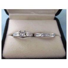 Estate 1CTW Diamond 14K White Gold Wedding Ring Set, Size 4-1/2