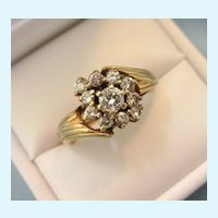 Fabulous Mid-20th Century 14K Gold 1 CTW Diamond Bold Cocktail Ring, Size 8-1/4