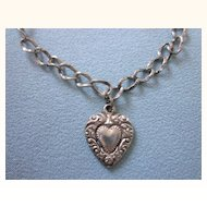 Romantic Victorian Sterling Bracelet and Heart Engraved Charm