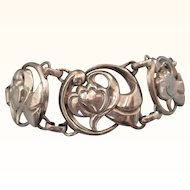 Romantic Vintage Coro Sterling Bracelet with Double Hearts, 24.5 Grams