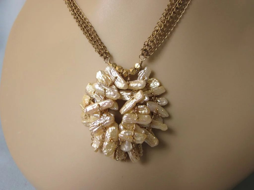 Romantic Gold Filled And Champagne Freshwater Pearl
