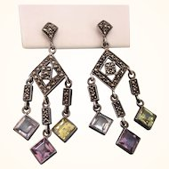 Fabulous Vintage Sterling and Gemstone Chandelier Pierced Earrings With Marcasites