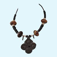 Vintage African Sterling Relic and Bead Pendant Necklace