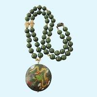 "Vintage Jade and Cloisonne 28"" Necklace, Sterling Clasp"