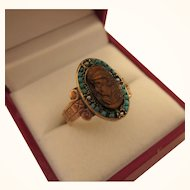 Exquisite Victorian 10K Rose Gold Carved Tiger's Eye Cameo Ring, Size 8