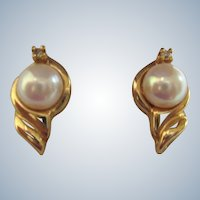 Estate 14K Gold, Cultured 6mm Pearl and Diamond Accent Pierced Earrings