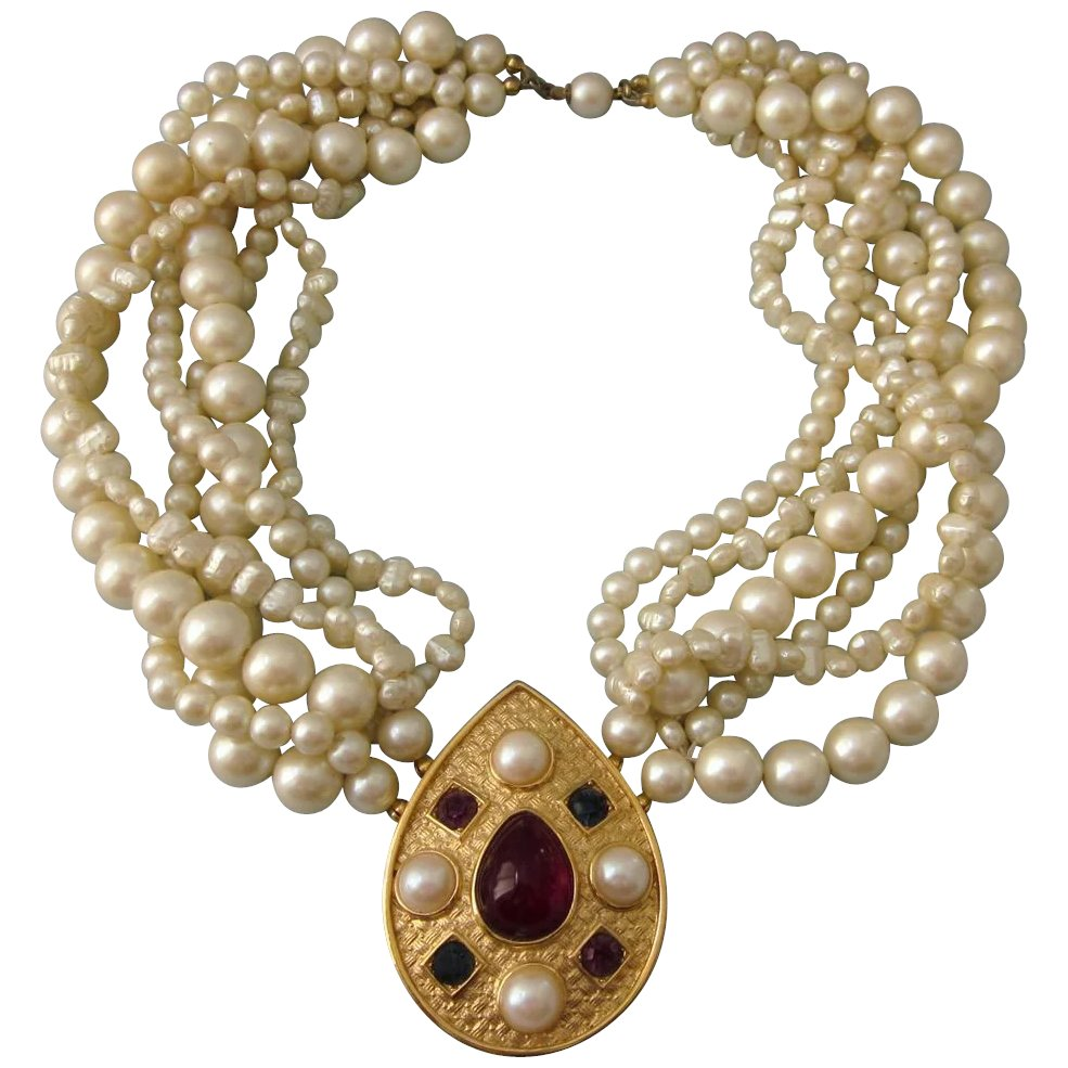 Vintage Signed Richelieu Faux Pearl Necklace With Ornate Studded