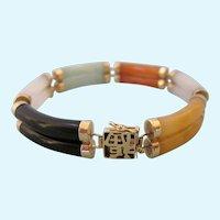 Jade 14K Double Segment Link Multicolor Bracelet