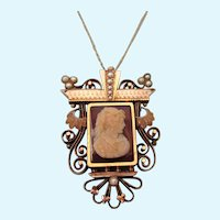 Exquisite Antique Victorian 14K Rose Gold Large Pendant Brooch With Cameo, Chain - 11.6 Grams!