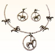 Vintage Sterling Horse Fetish and Heishi Bead Necklace and Pierced Earring Set