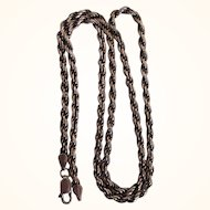 """Chunky Sterling Silver 21"""" Oxidized Rope Chain Necklace, 18.1 Grams"""
