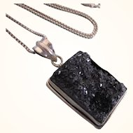 """Vintage Sterling Amethyst Druzy Pendant With 21"""" Sterling Chain"""