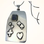 """Signed, Hand Made Sterling Playing Card Suits Pendant and 24"""" Chain Necklace, 23.2 Grams"""