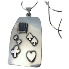 "Signed, Hand Made Sterling Playing Card Suits Pendant and 24"" Chain Necklace, 23.2 Grams"