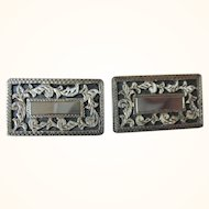 Vintage Signed Sterling Platareal Crown Mark Mexican Cuff Links
