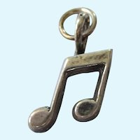 Vintage Sterling Silver Musical Note Charm