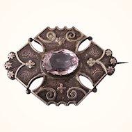 SALE!  Antique Victorian Aesthetic Sterling and Pale Amethyst Gemstone 1883-4 Birmingham Brooch