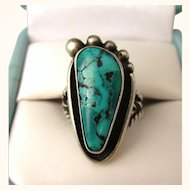 Signed Vintage Sterling and Turquoise NA Navajo Foot Ring, Size 4-3/4