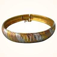 """Italian Signed Milor Sterling Tri-Color Vermeil 8"""" Bracelet, 23 Grams, Large Size"""