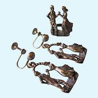 Vintage Sterling Dancers Dangle Earrings and Scarf Ring, Pierced or Screw Back - 13.14 Grams