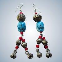 Vintage Ethnic Gypsy Boho Scarab Dangle Pierced Earrings
