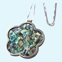 """Gorgeous Bold Sterling and Inlaid Abalone Large Pendant With Sterling 20"""" Chain, 23.3 Grams!"""