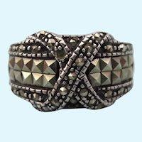 Elegant Vintage Sterling and Marcasite Band Ring, Size 6-1/2
