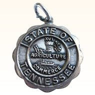 SALE! Vintage Beau Sterling State of Tennessee Charm, Agriculture, Commerce