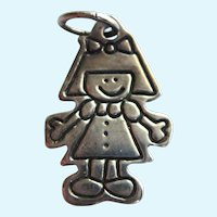 SALE!  Sterling Lucy Ann Girl Outline Charm Pendant, No Monogram