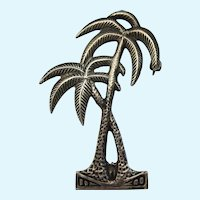 Whimsical Vintage Sterling Silver Palm Trees Brooch