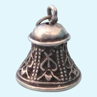 SALE!  Vintage Sterling Silver Ornate Bell Charm With Clapper, 3-D