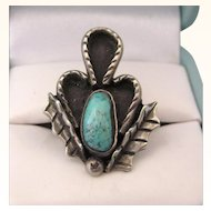 SALE! Vintage Sterling and Turquoise Holly Leaf Ring, Size 7