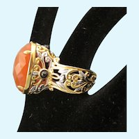 Spectacular Signed Sterling Silver Vermeil and Faceted 7 Carat Carnelian Dramatic and High Set Ring, Size 7