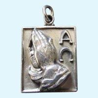 Vintage Haywood Sterling Serenity Prayer 3-D Pendant, Medal or Charm