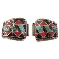 FINAL CLEARANCE   Signed Vintage Nicholas & Theresa Leekela Zuni Inlaid Gemstone Watch Band Tips