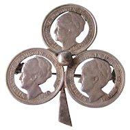 Wilhelmina Netherlands Cut Out 10 Cent 1936 Coin Clover Brooch