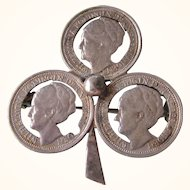 Wilhelmina Netherlands Cut Out 10 Cent 1936 Coin Clover Brooch