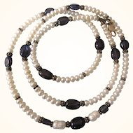 """Vintage Genuine Freshwater Button and Baroque Pearl, Amethyst and Sterling 26"""" Necklace"""