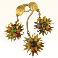 Vintage Czech Brooch in Gilt and Yellow Enamel With Vibrant Leaves