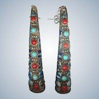 Fabulous Pair of Sterling Enamel Chinese Fingernail Guard Pierced Earrings - Gorgeous!