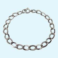 """Elegant Sterling Silver Chased Link Starter Charm 7-1/8"""" Bracelet"""