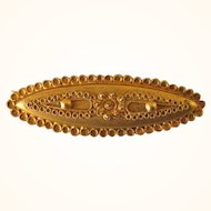 Lovely Victorian 585 14K Yellow Gold Oval Brooch