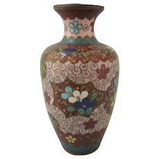 "Vintage Japanese Cloisonne 4-3/4"" Vase, Lovely Unusual Colors"