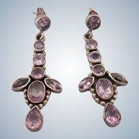 Lovely Sterling Silver Amethyst Gemstone Drop Pierced Earrings