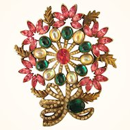 Fabulous HUGE Runway Pot Metal Rhinestone Brooch in Vibrant Colors!
