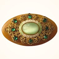 Fabulous Vintage Bakelite Embellished Oval Brooch