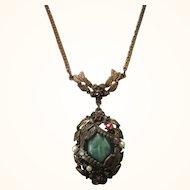 Vintage Czech Lavalier Necklace With Peking Glass Cabochon