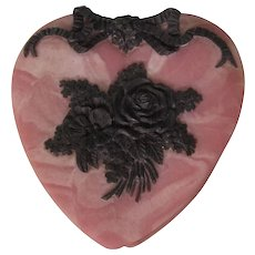 FINAL CLEARANCE  Vintage Incolay Stone Heart Hinged Box With Ornate Metal Work - Flowers and Ribbons